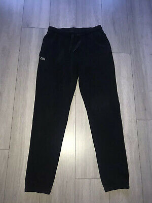 Men's Lacoste Cotton  Joggers Tracksuit Bottoms Cuffed Black size 5 Medium/ Larg