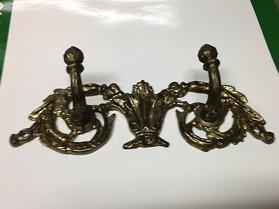 Antique Vintage Brass Plated Double Hook Part