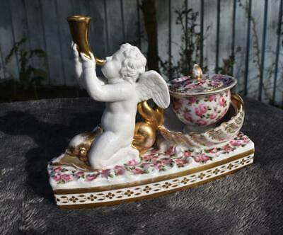 Superb Antique French 18thC Louis XVI FiguralPorcelain Inkwell -  Gilded Figural