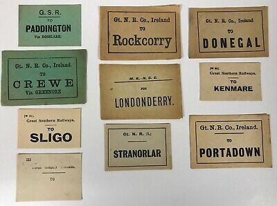 Irish Railway luggage labels Sligo Donegal Rockcorry Kenmare Portadown [18558]
