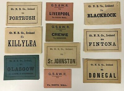 Irish Railway luggage labels Portrush Killylea Fintona Donegal Blackrock [18559]