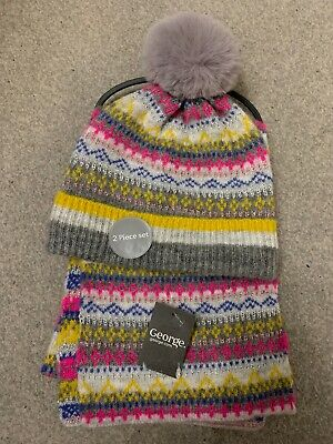 Bnwt George Grey, Yellow & Pink Fair Isle Fairisle Hat And Scarf Set, Age 1-3