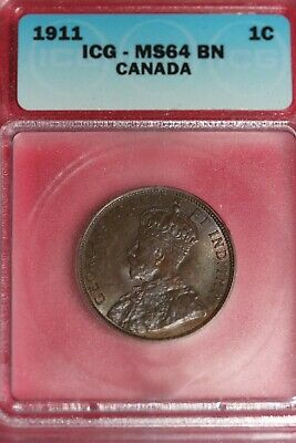 1911 MS 64 BN Canada Large Cent ICG Graded Certified Authentic Slab OCE 959