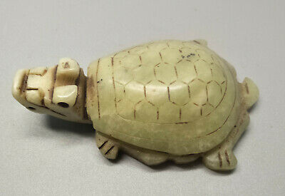 Exquisite Hand-carved old jade dragon turtle statue for lucky M062