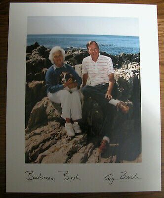 President George H.W. Bush & First Lady Barbara Autographed 8x10 Official Photo