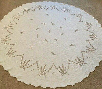 """Vintage Mid Century Embroidered ROUND Linen Tablecloth Beige Floral Wheat 64"""""""