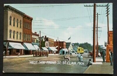 St. Clair, Michigan - West Side Front Street - Pre-1915 Old Postcard EJ