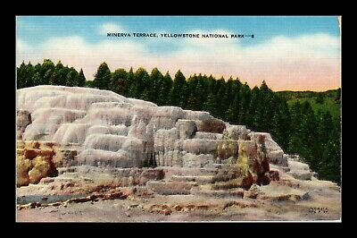 Dr Jim Stamps Us Minerva Terrace Yellowstone National Park Linen Postcard