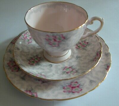 TUSCAN TRIO -- Vintage PINK flowers -- tea cup, saucer and salad/lunch plate
