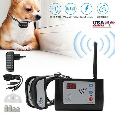 Electric Wireless Dog Safety Fence System Receiver Training Rechargeable Collar