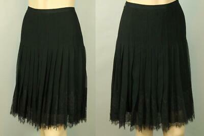 SAKS FIFTH AVENUE Black Sheer Organza Silk Lace Fit Flare Pleated Dress Skirt 12