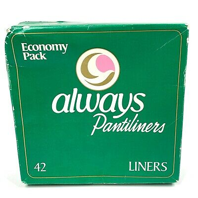 Vintage Always Pantyliners 1982 Green Sealed Box Economy Pack 42 P&G