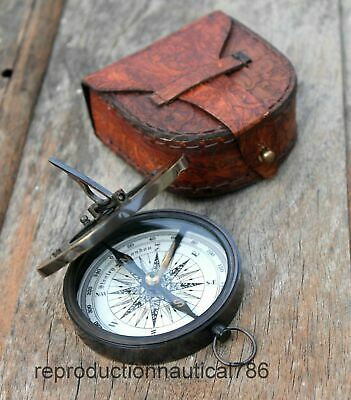 Solid Brass Antique Working Compass With Leather Case Decor Item Gift