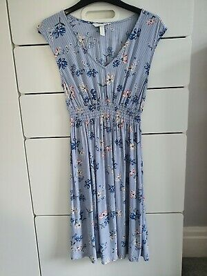 H and M Mama Maternity Dress Floral Striped Blue White Size XS Worn Once
