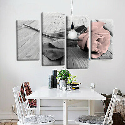 4Pcs Pink Rose Floral Painting Canvas Wall Picture Painting  Decor Printed Set