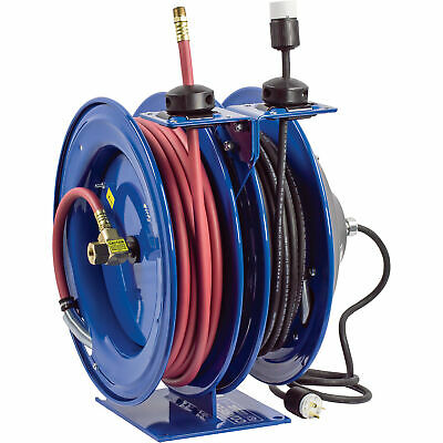 Coxreels Combo Air and Electric Hose Reel with Outlet Attachment
