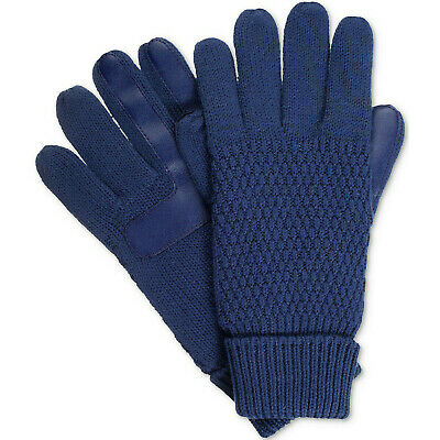 ISOTONER Navy Blue Textured Knit smarTouch smartDRI Lined Tech Gloves One Size