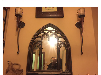Gothic Mirror with shelf and Candleholders+Two Heavy Iron/glass Candleholders