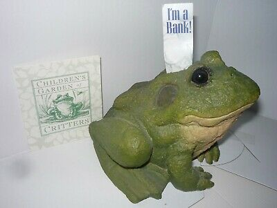 """FROG  BANK - Children's Garden of Critters - hand painted 5"""" tall -6"""" wide"""