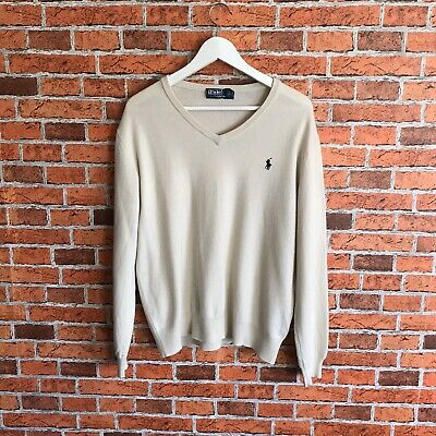Polo Ralph Lauren Sweater Jumper Top Size Large Merino Wool Mens Cream And Blue