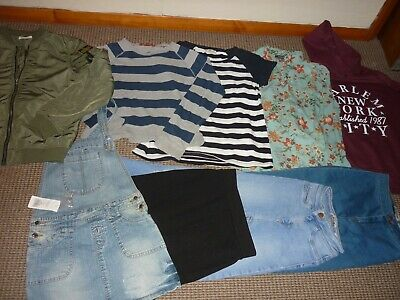 Bundle Girls Clothes age 14-15yrs Jeans Tops Hoodie Skirt Pinafore FCUK New Look