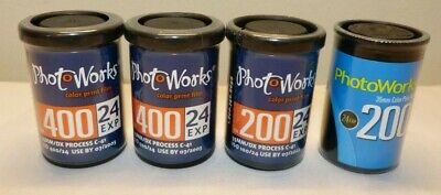 Lot of 4 Photo Works 35mm C-41 Color Print Film 200 & 400 - Expired - New Sealed