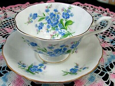 Royal Albert Blue Forget Me Not Avon Shape Tea Cup And Saucer
