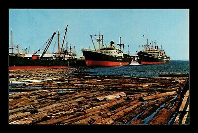 Dr Jim Stamps Us Mahogany Logs Ships Pensacola Florida Port View Postcard