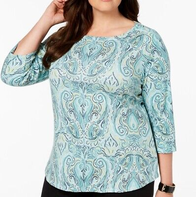 Charter Club Women's Top Green Size 1X Plus Knit Boatneck Printed $22 577