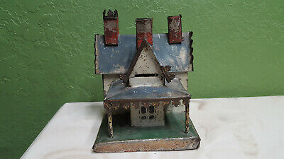 George Grown tin antique toy victorian cottage house savings bank building litho