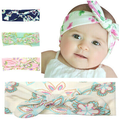 Elastic Kids Baby Print Ties Bow Infant Turban Flower Hairband Baby Headband