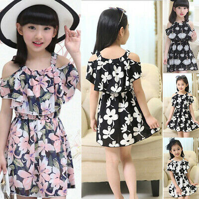 Girls Kids Toddlers Casual Dress Summer Comfy Clothes Floral Printed Top Dresses