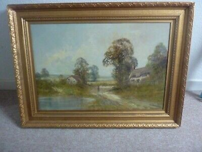LARGE FINE F E.JAMIESON  ANTIQUE 19th CENTURY OIL PAINTING COUNTRY LANDSCAPE
