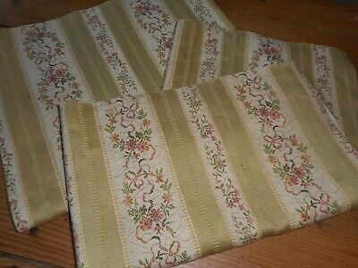 Antique French Yellow Floral Lisere Cotton Brocade Jacquard Fabric #1 ~ Aged