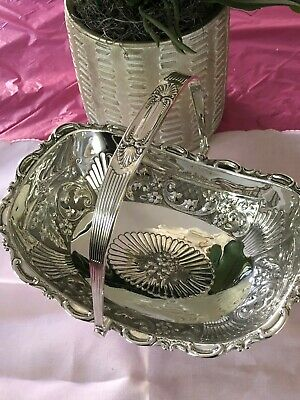 Antique English One Handle Repousse  Silver Plate Basket – Hallmarked
