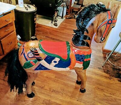 Vintage Hand Carved Wood Horse Life Size Beautifully Carved and Hand Painted