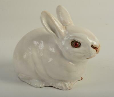 RARE Bavent French Terracotta Rabbit Bunny Glass Eye Figurine Statue Normandy