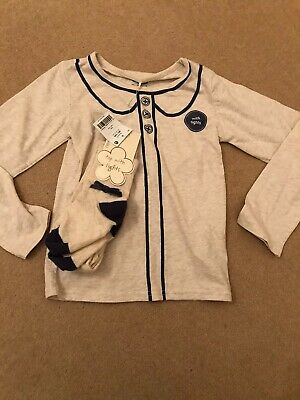 Bnwt Next Girls Cotton Oatmeal/Navy  Top And Tights Set 5-6 Yrs