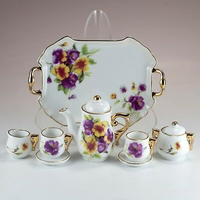Porcelain 10 Pc Mini Miniature Flowers Pansy Tea Set Teapot Creamer Sugar Cups