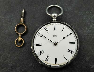 Antique Victorian Fine Solid Silver Open Face Fob Pocket Watch Baume Geneve &Key