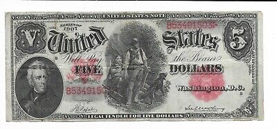 1907 $5 Legal Tender Treasury Banknote Woodchopper Green Reverse Extremely Fine