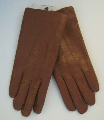 Women's~Caramel Brown~Stitched Leather Gloves~40 g Thinsulate Lined~Size S/M
