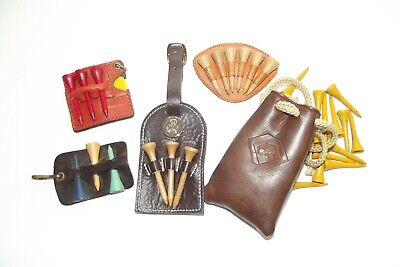 5 Lot of Mostly Antique Wood Tees in Leather Bag plus Leather Clip-On Holders