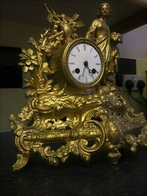 1800s French Antique Gilt Bronze CLOCK, 8 DAY BELL STRIKING MOVEMENT! HEAVY!!!