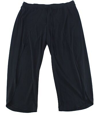 INC Womens Pants Black Size 3X Plus Wide Leg Overlay Pull On Stretch $79 054