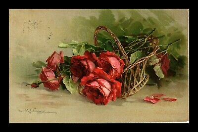 Dr Jim Stamps Roses Artist Signed Floral Baseball London Series 2405 Postcard