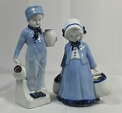 Antique German Porcelain Dutch Boy and Girl Carrying Water Figurines