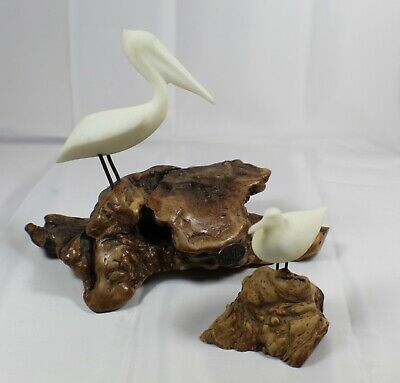 John Perry PELICAN and SEAGULL on Burl Wood Art Sculptures