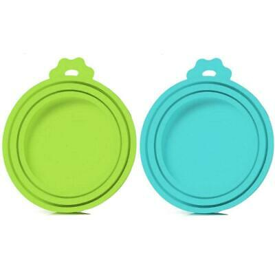 SLSON 2 Pack Pet Food Can Cover Universal Silicone Cat Dog Food Can Lids 1 Fit 3