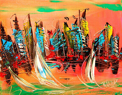 MORNING SKY LAND Modern Abstract Oil Painting Original Canvas Wall Decor M-Y5U67